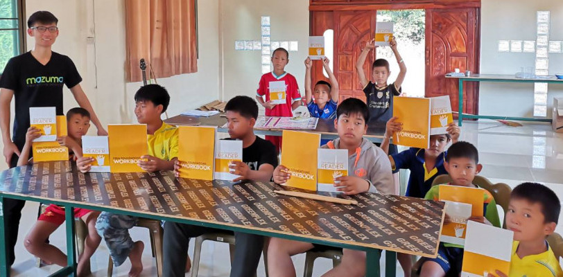 Teacher Obey with his 10 BBL students, Roi Et Province, North East Thailand.