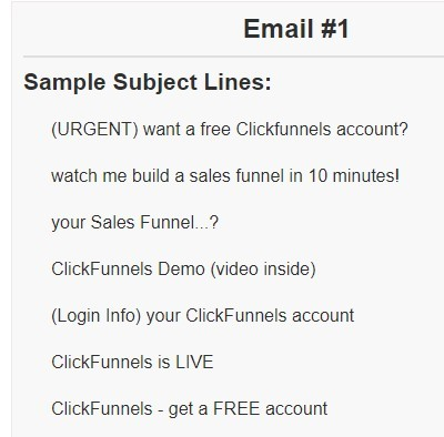 Email sample subject lines for promoting clickfunnels
