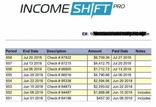 weekly proof of earnings from Income shift pro