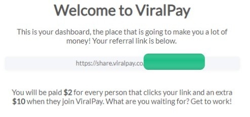 viral pay welcome message