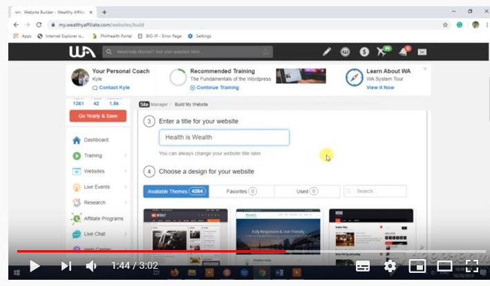 YouTube 3 Minutes Website Building