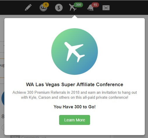 The Wealthy Affiliate Dashboard -Las Vegas Super Affiliate Conference Icon