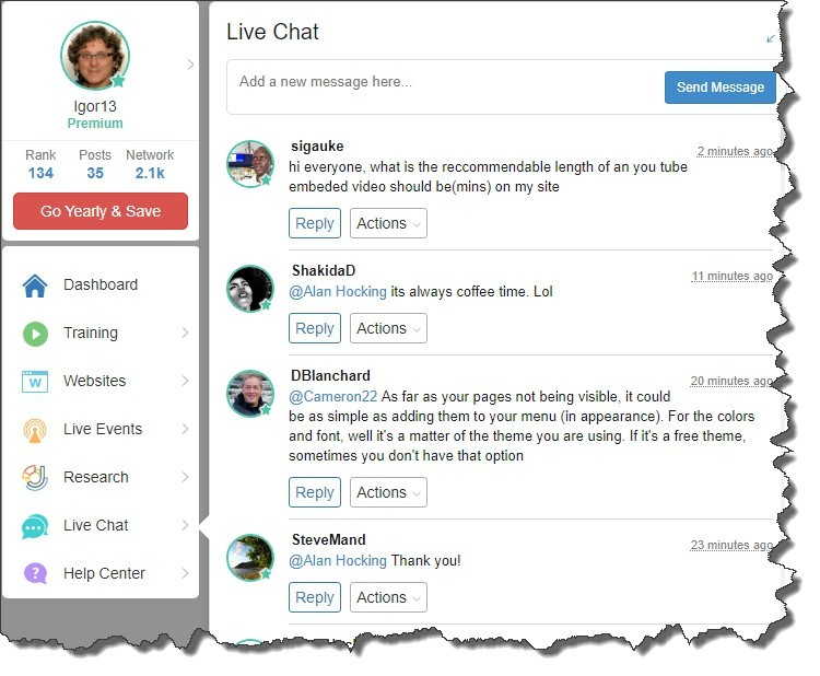 The Wealthy Affiliate Dashboard -Live Chat Section