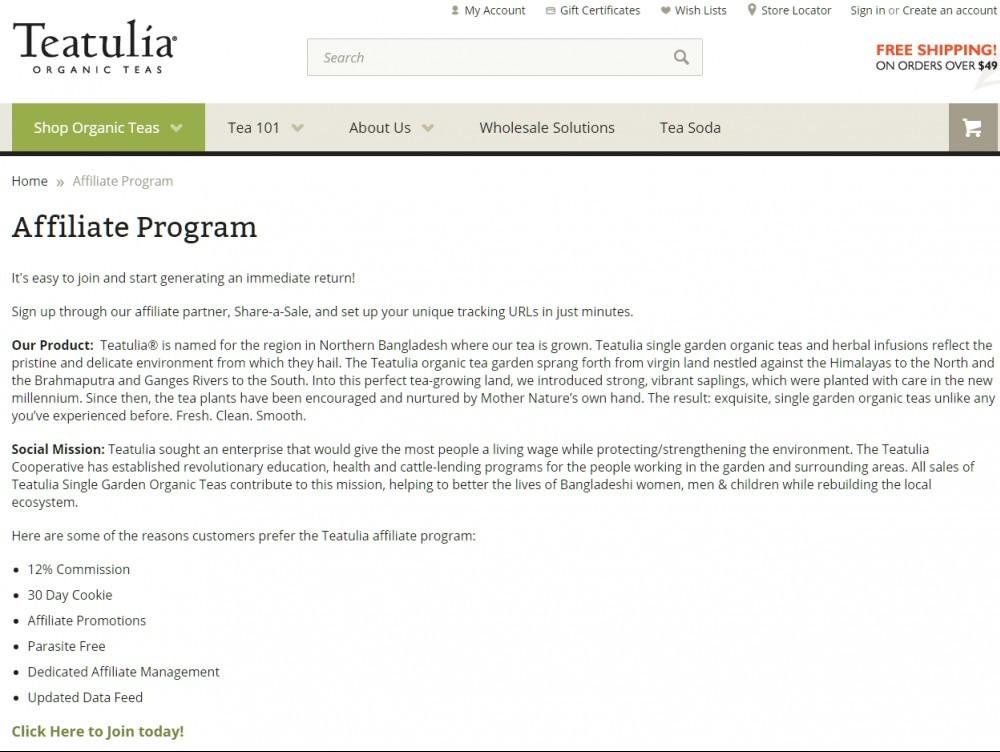 Affiliate programs for teatulia