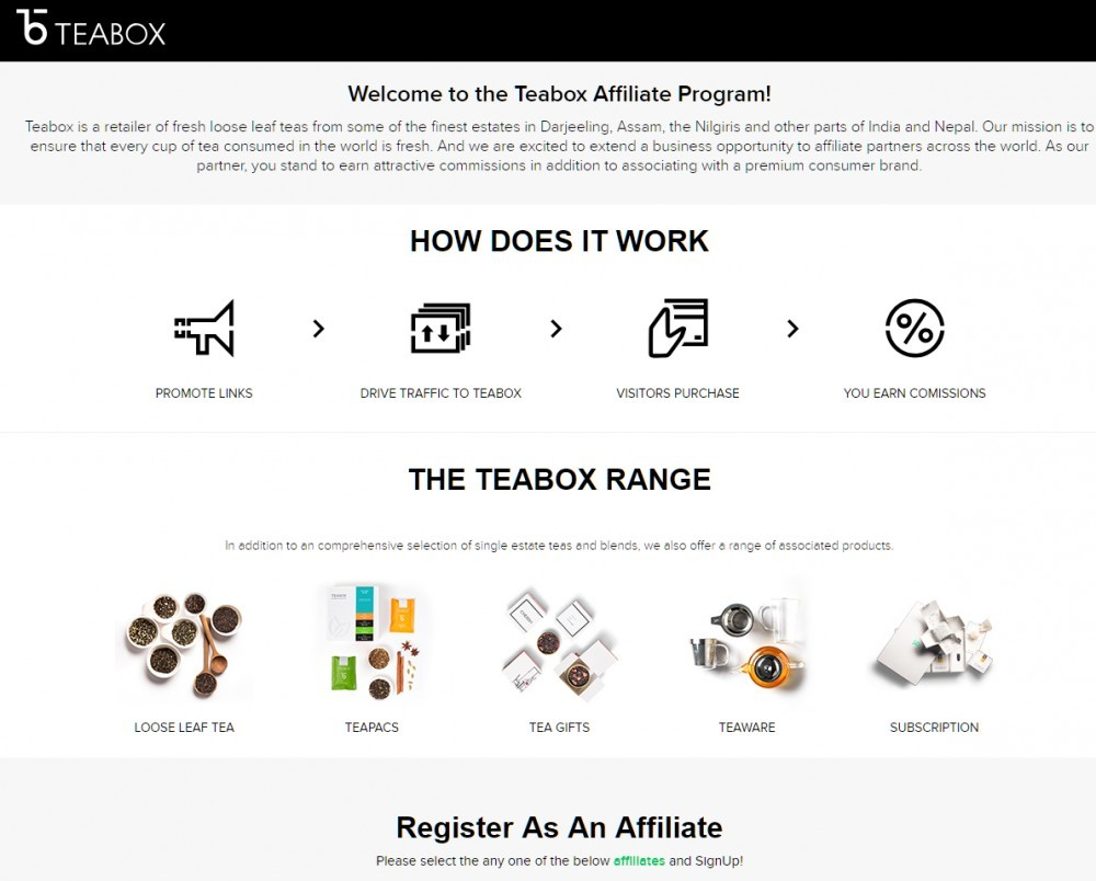 Teabox screengrab for affiliate marketing review
