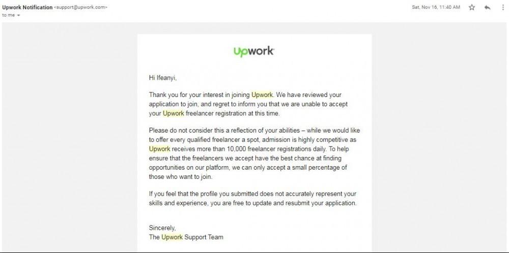 Upwork dissaproved
