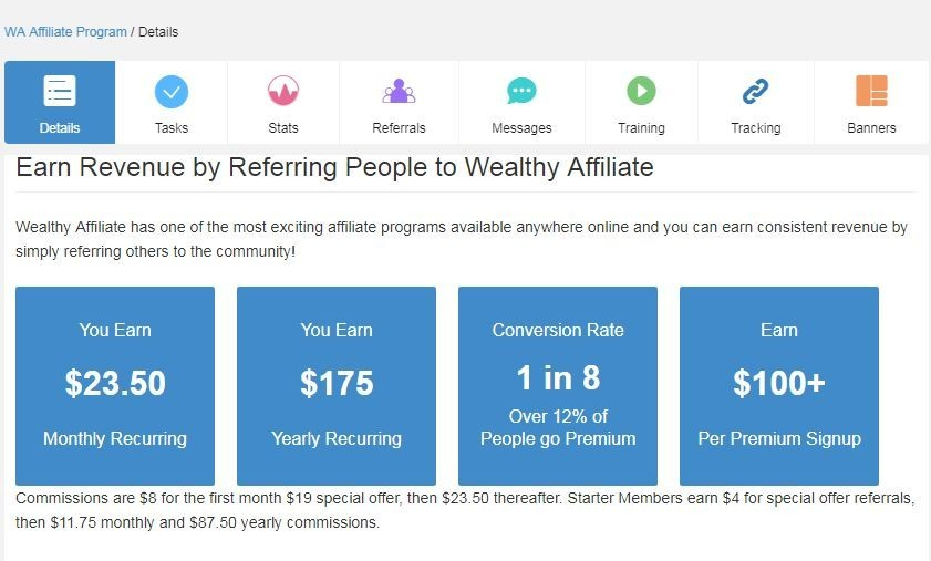 Earning on Wealthy Affiliate