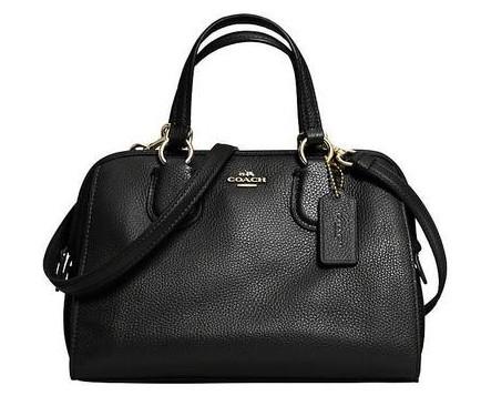 COACH Mini Nolita Leather Satchel Handbag (Black)