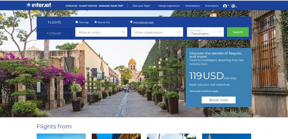 Screenshot of Interjet's home page in blue with a search field at the top and a picture of a hall lined up with old buildings covered by ivy in the background.ngs covered by hydras