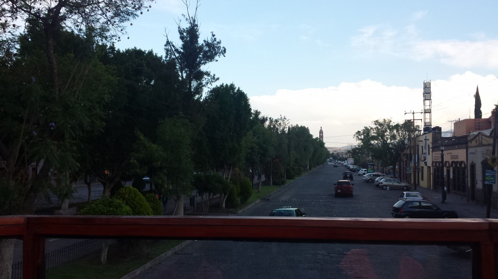 View of San Luis Potosi City on board of a trolley.