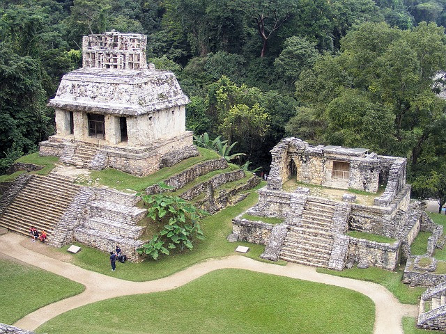 Aerial view of two Maya buildings in Palenque, Chiapas.