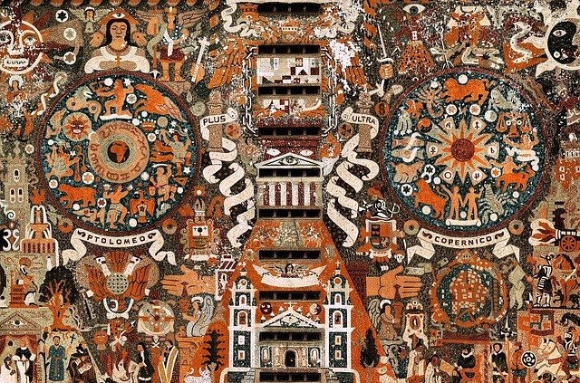 UNAM mural depicting the history between the Aztecs and the Spanish conquerors.