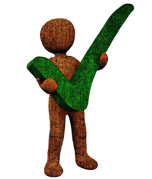 Brown masculine figure holding a check big green check mark in both hands.