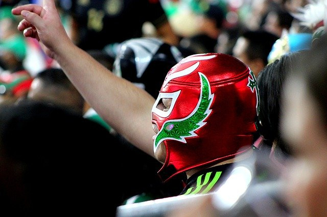 Lucha libre fan wearing a red mask and raising his right hand.