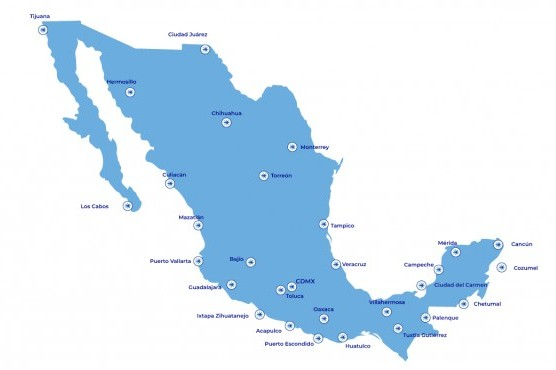 Blue Mexico map with several points representing Interjet destinations.