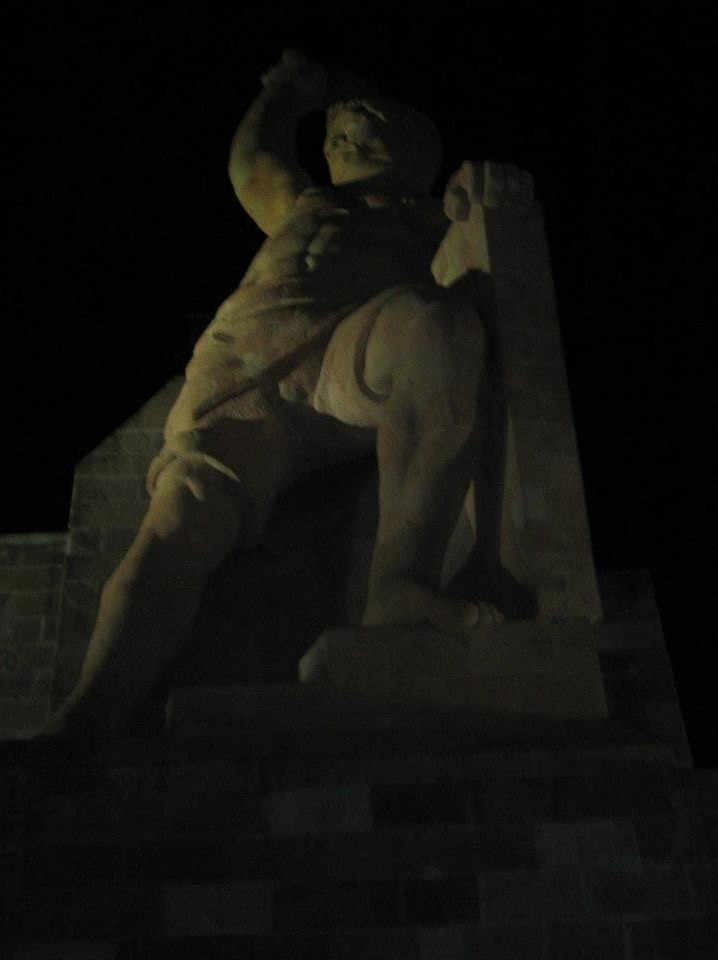 El Pipila Monument seen from below at night.