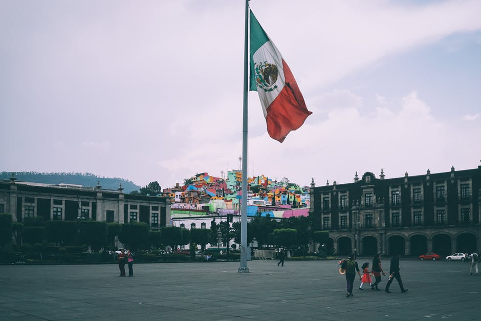 Mexican flag in the center of the Zocalo in Mexico City.