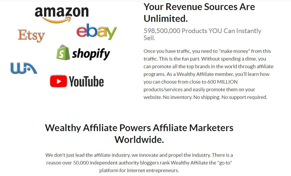 image show brands like amazon, ebay and wealthy affiliate, this is wealthy affiliate vs affilorama 2020