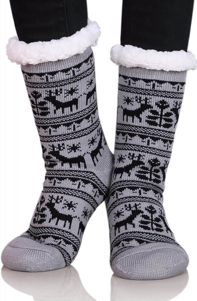Dosini women winter snowflakes fleece slipper socks