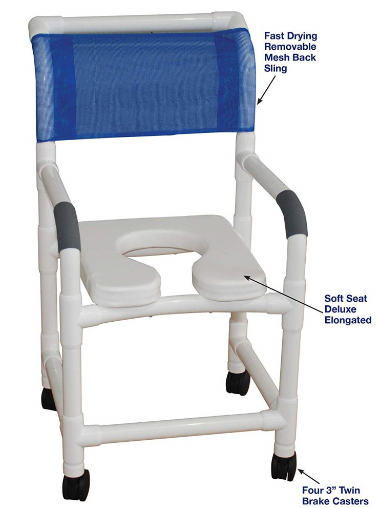 MJM Shower Chair with Deluxe Elongated Open Seat