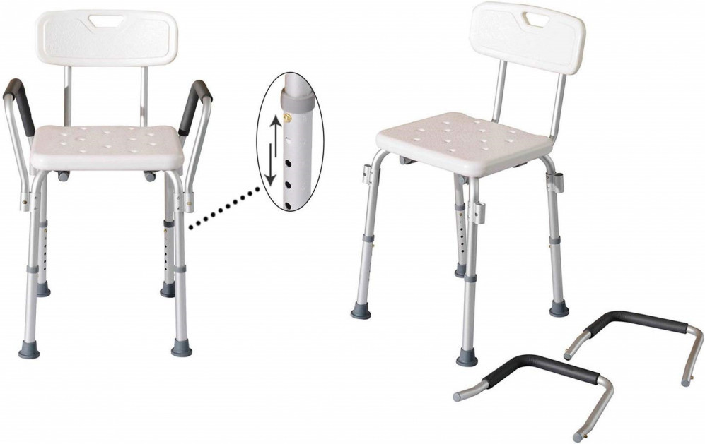 HOMCOM Adjustable Medical Shower Chair with Back with Padded Arms