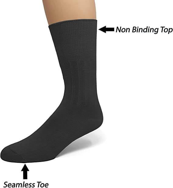 EMEM Apparel Diabetic Dress Crew Cotton Socks