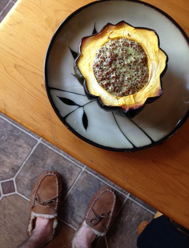 Thanksgiving quinoa stuffed into acorn squash
