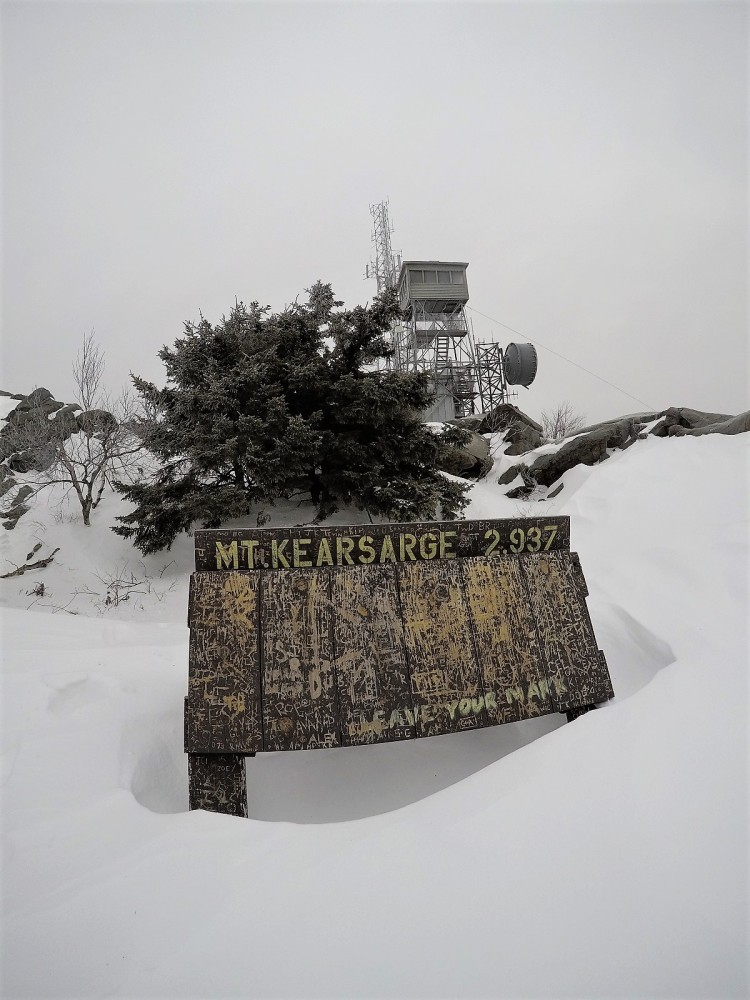 Summit sign & tower atop Kearsarge