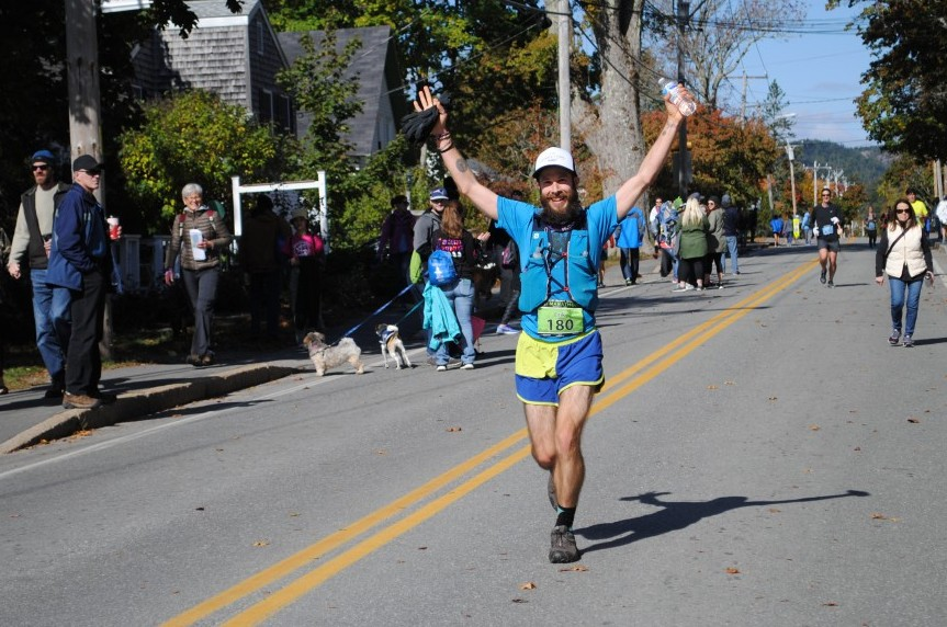Coming into the finish gate at the MDI Marathon