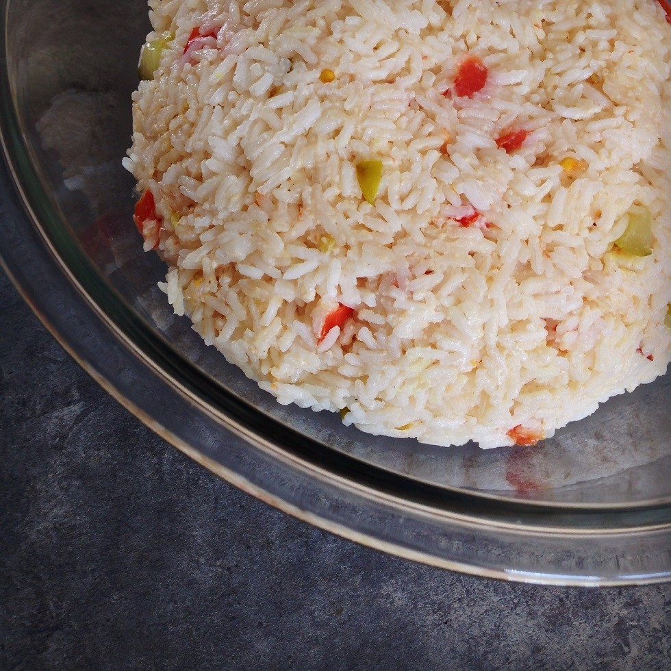 Jasmine rice with bell pepper and Wicked Pickles