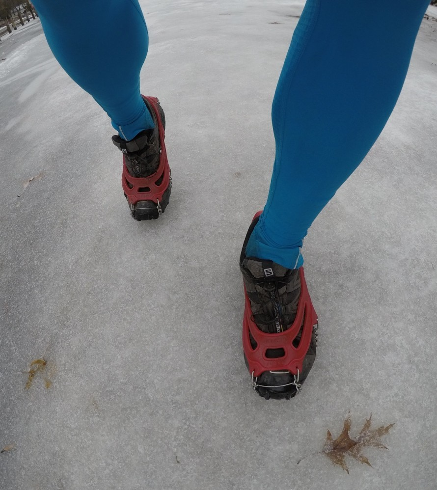 Salomon Speed Cross with Micro Spikes over top