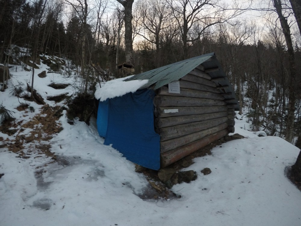 Log Shelter shortly prior to reaching the summit of Ascutney North