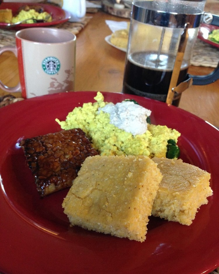 Corn bread, tofu scramble and tempeh steak - with french pressed coffee!