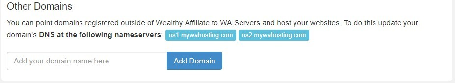 Site Domains pointing a domain to WA hosting