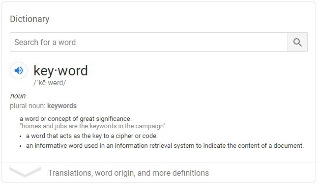 Keyword Definition Google Search Example