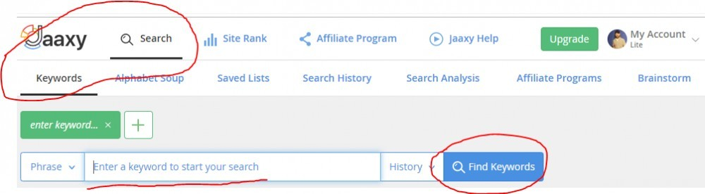 Jaaxy header, how to search keywords example