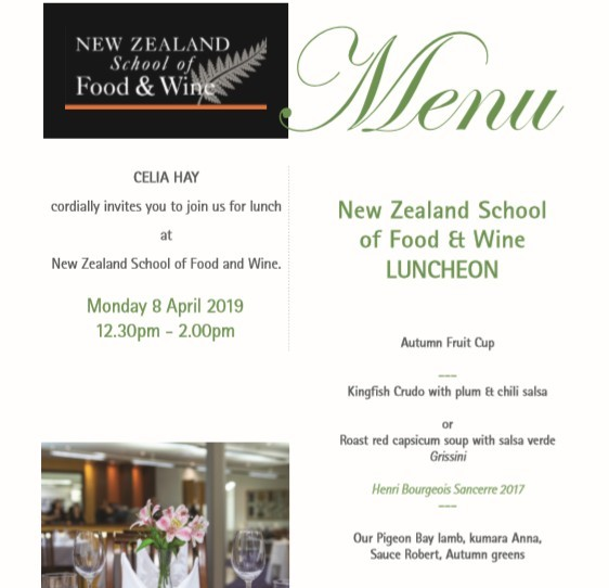 Special lunch invitation from NZ School of Food and Wine
