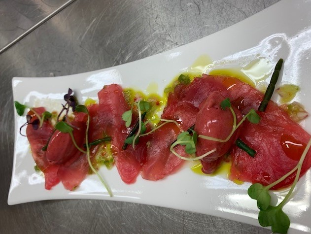 New Zealand School of Food and Wine - Kingfish crudo with plum and chili salsa