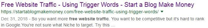 Trigger Words for traffic