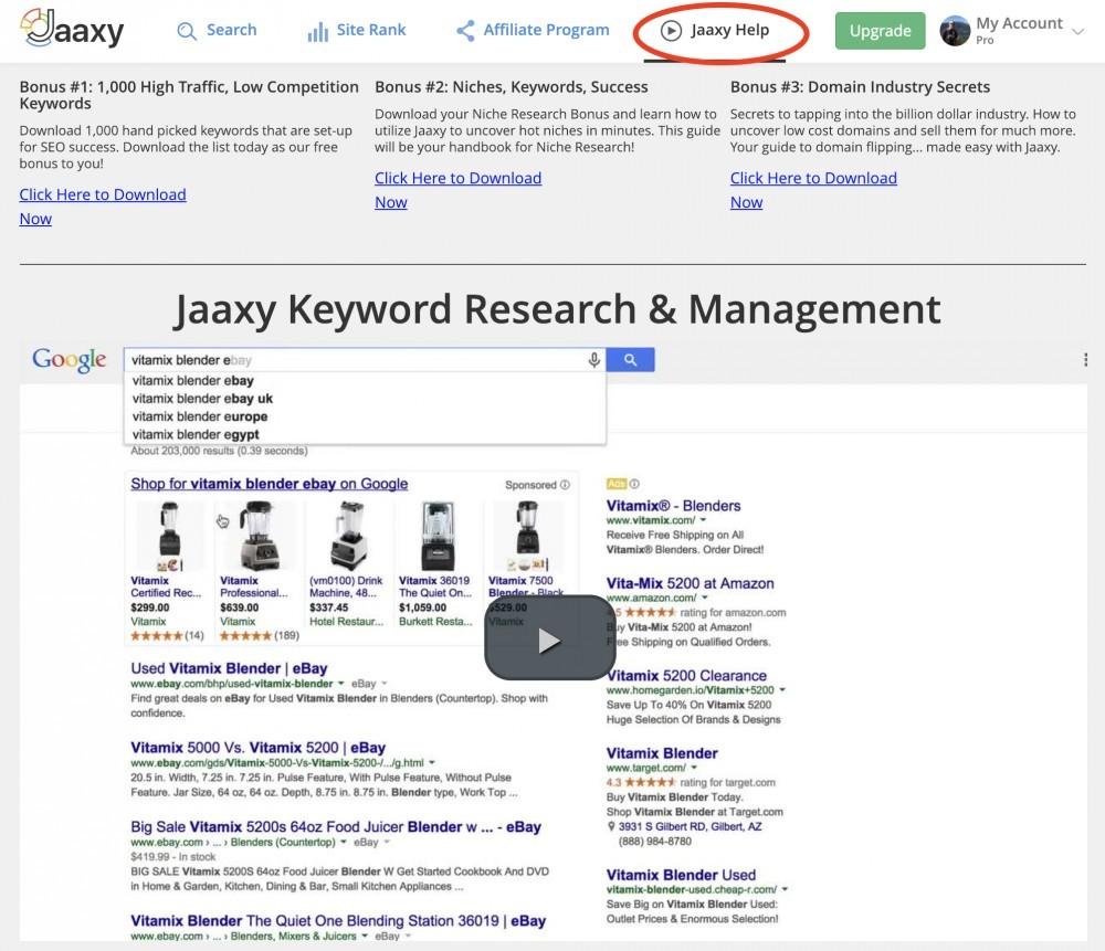Jaaxy help