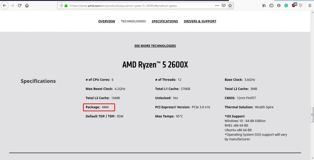AMD Ryzen 5 2600X Specifications Socket