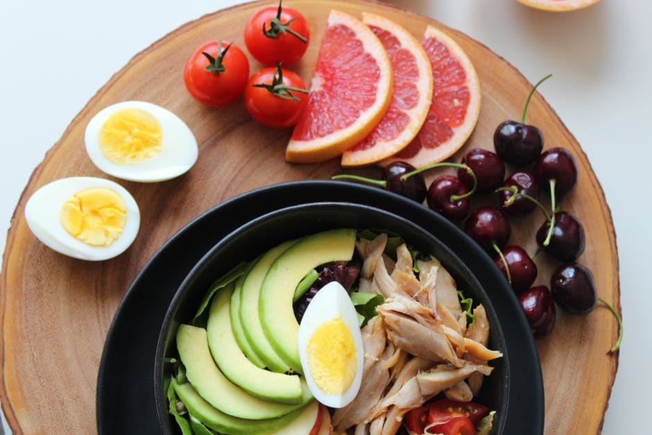 fruits and vegetables with eggs
