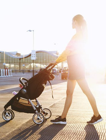 How to Exercise with a Baby - Outdoors - Momma pushing a stroller