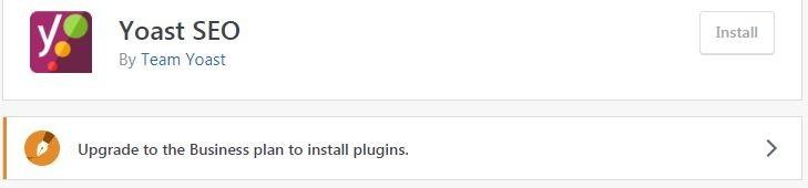 WordPress Upgrade To Business plan to install plugins