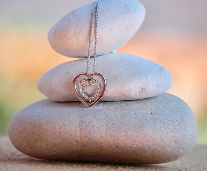 Heart necklace on rocks