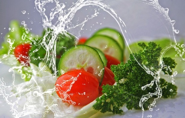 Vegetables with water splash