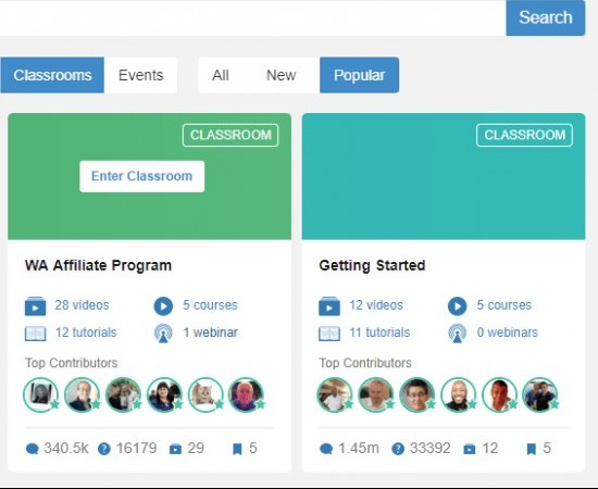 Wealthy Affiliate Free Training Classrooms