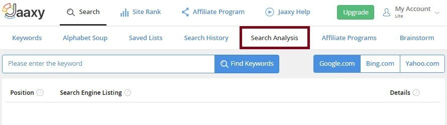 Jaaxy Search Analysis