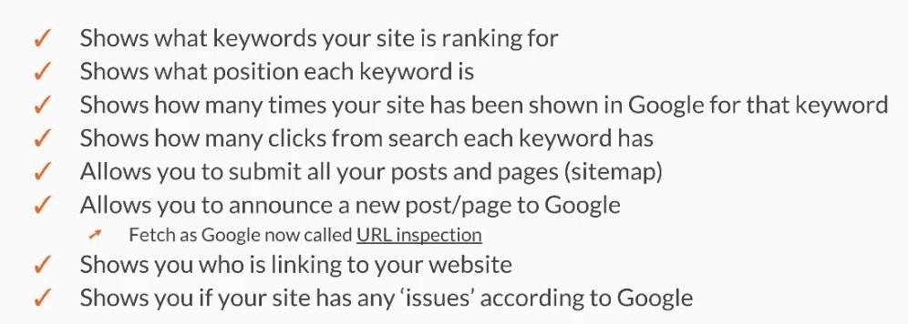 Features of Google Search Console