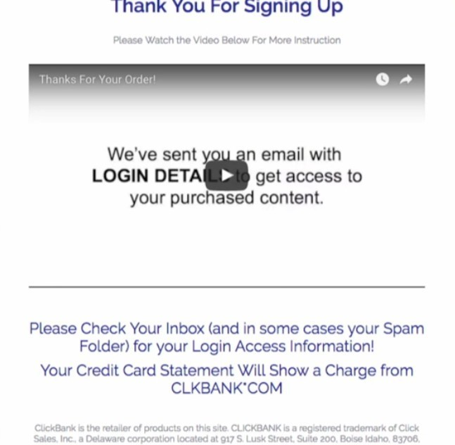 The Thank you page with credit card info on Clickbank builder